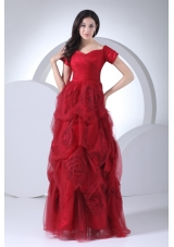 Wine Red Tulle Short Sleeves Hand Made Flowers Prom Dress
