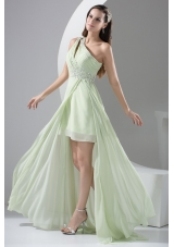 Beaded Single Shoulder High Low Prom Dresses in Apple Green