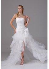2013 A-line Strapless Ruching and Ruffles High-low Wedding Dress with Organza