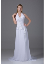 Column Halter Ruching and Appliques Wedding Dress with Chiffon