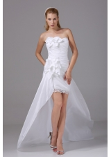 Fashion Hand Made Flowers Strapless High-low Wedding Dress with Ruching