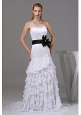 Mermaid Sweetheart Sashes Wedding Dress with Ruffled Layers in Party 2013