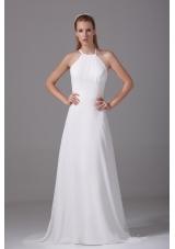 Simple Column Spaghetti Straps Court Train Wedding Dress