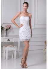 2013 Lovely Strapless Lace Short Ruching Wedding Dress