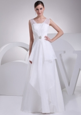 2013 Simple V-neck Beading and Ruching Chiffon Bridal Dress