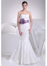 2013 Strapless Purple Sashes Mermaid Bridal Gown with Lace