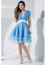 Beadings and Sash Decorated Short Sleeves U-neck Tiers Prom Dress