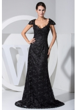Black Lace Flowers Cap Sleeves Scoop Prom Dresses with Sweep Train