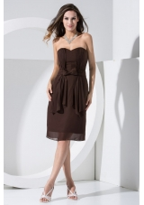 Brown Chiffon Empire Prom Dress with Bowknot and Pocket