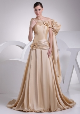 Champagne A-line Asymmetrical Hand Made Flowers Bridal Gown with Ruching