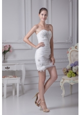 Column Sweetheart Beading and Ruching Short Wedding Dress