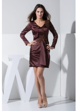 Column V-neck Long Sleeves Burgundy Prom Dress with Appliques