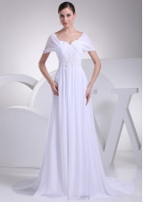 Empire Square Short Sleeves Wedding Dresses with Appliques and Ruching