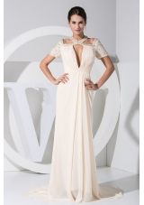 Jeweled Plunging Neckline Chiffon Prom Dress with Cutouts