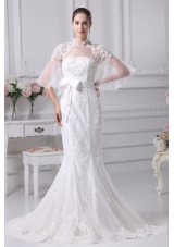 Mermaid High-neck Short Sleeves Wedding Dress with Lace and Sash