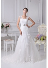 Mermaid Straps Wedding Dress with Ruching and Beading on Lace