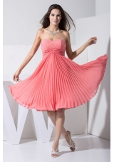 Pleating and Ruching Prom Dress with Beading Decorated Sweetheart Neckline