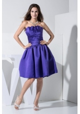 Ruche Decorated A-line Purple Prom Dress with Ruffled Strapless Neckline