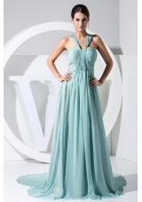 Ruching V-neck Watteau Train Prom Dress with Transparent Waist