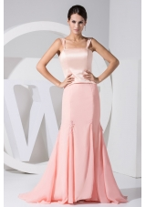 Satin Bodice Chiffon Mermaid Skirt Prom Dress For Weddings with Straps