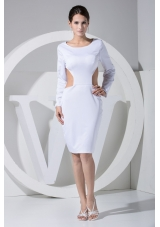 Scoop Sheath Back Out Long Sleeves Prom Gown with Cutout Waist