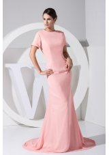 Short Sleeves Round Neckline Prom Dress with Cool Back