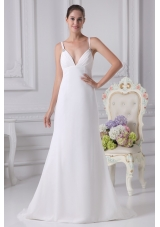 Simple Spaghetti Straps Chiffon Bridal Gown with Ruching and Beading 2013
