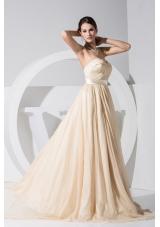 Sweetheart Brush Train Cool Back Prom Dresses with Satin Sash