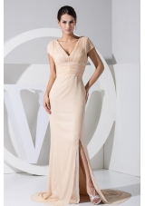 V-neck Cap Sleeves Slit Champagne Prom Dress with Keyhole on the Back