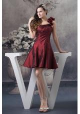 A-line Burgundy One Shoulder Mini-length Prom Evening Prom Dress