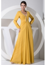 Empire Long Sleeves Pearl Embellished V-neck Prom Dress in Gold