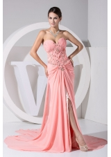 Jewelry Sweetheart Prom Dresses with High Slit and Watteau Train