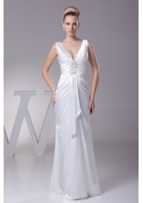 Sheath V-neck Beading and Ruching Long Wedding Dresses in 2013