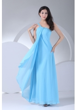 Aqua Blue One Shoulder Ankle-length Beaded Dress for Prom