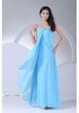 Aqua Blue One Shoulder Ankle-length Beaded Dress for Prom