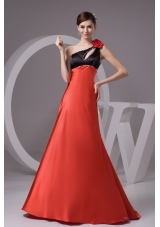 Beading Flowers and Cutouts Decorated One Shoulder Prom Dress
