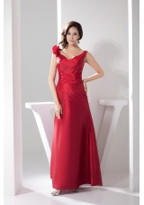 Hand Made Flowers Ankle-length Sheath Prom Gown in Red