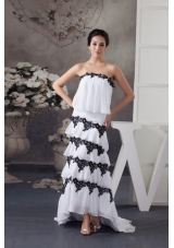 High Low Layers Prom Dress in White with Black Beaded Appliques