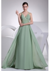 Modest Green Beaded V-neck Floor-length Empire Prom Dresses