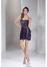 Ruche and Polka Dots Decorated Mini-length Sweetheart Prom Gown