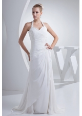 Ruching Beading and Appliques Halter Top Sheath Wedding Gown