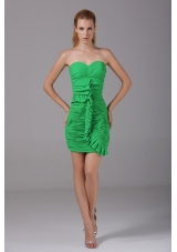 Spring Green Sweetheart Ruched Mini Prom Evening Dress in Fashion