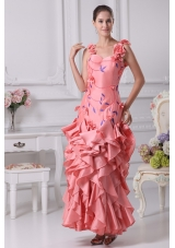 Straps Watermelon Prom Dress with Handmade Flower and Embroidery
