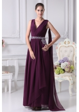 Ankle-length V-neck Prom Dress with Watteautain and Beaded Sash
