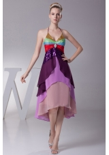 Asymmetrical Colorful Halter Top Tiers Back Out Prom Dress