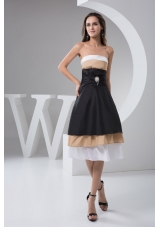 Beaded and Ruched Colorful Prom Evening Dress of Knee-length