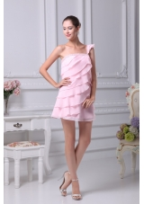 Beaded Single Shoulder Empire Tiers Prom Gowns in Baby Pink
