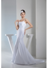 Beading Spaghetti Straps Mermaid Wedding Gowns with Sweep Train