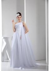 Column Single Shoulder Watteau Train Wedding Dress with Beaded Ribbon