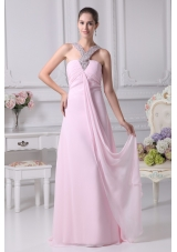 Empire Ruching Baby Pink Prom Dress with Beaded Neckline